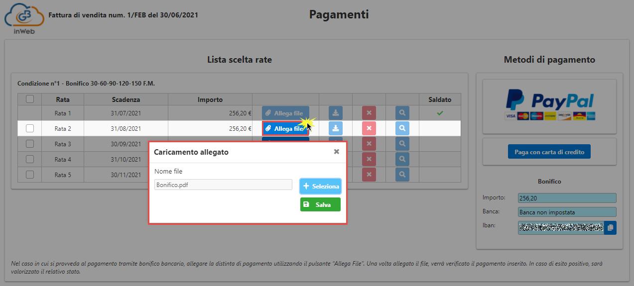 Fatturazione inWeb: invio documenti tramite Adesione Online: allegare copia bonifico