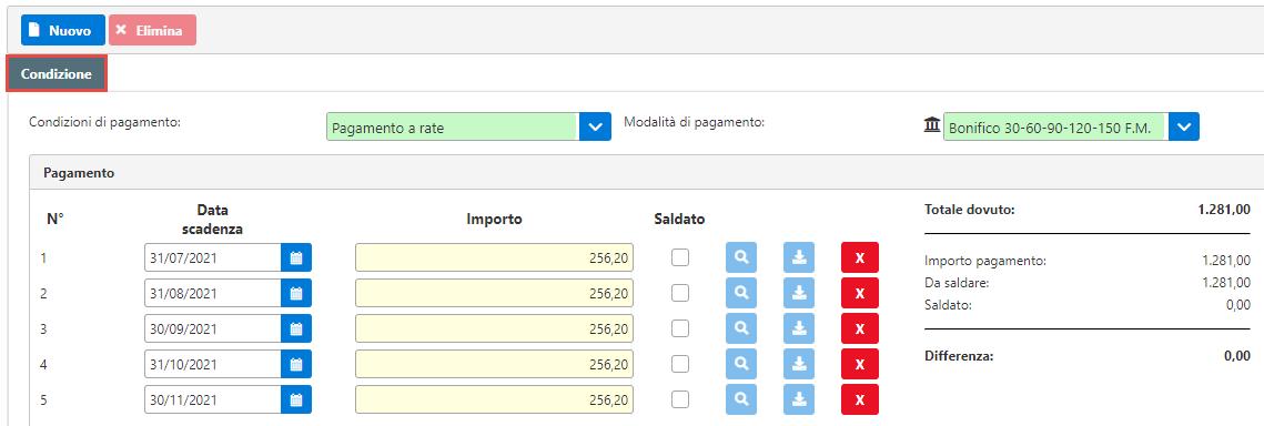 Fatturazione inWeb: invio documenti tramite Adesione Online: condizione di pagamento