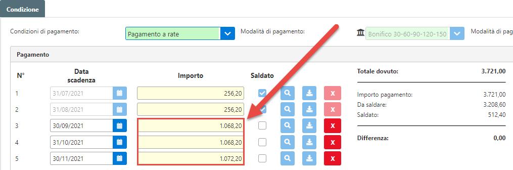 Fatturazione inWeb: invio documenti tramite Adesione Online: importo ripartito nelle rate con condizione già esistente