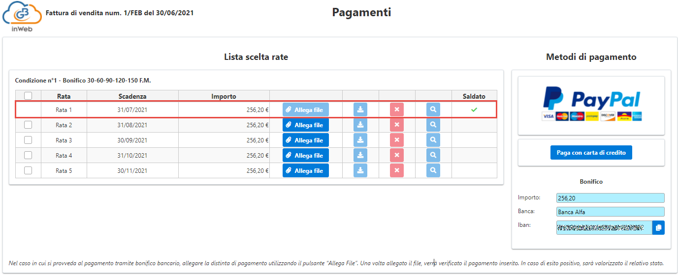 Fatturazione inWeb: invio documenti tramite Adesione Online: operazione segnalata come saldata