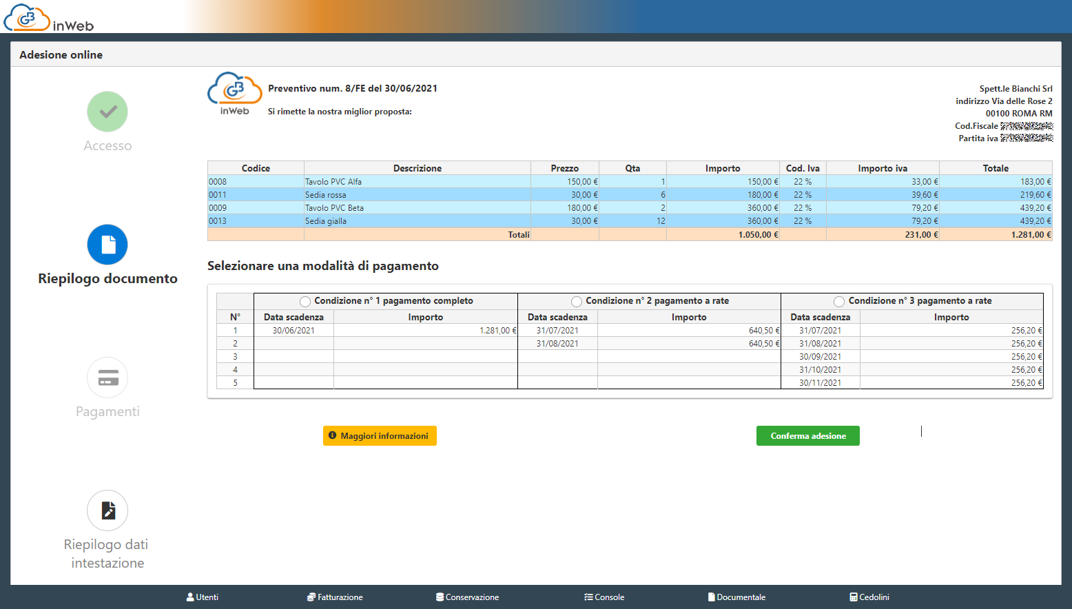 Fatturazione inWeb: invio documenti tramite Adesione Online: riepilogo documento