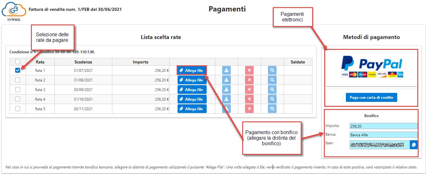 Fatturazione inWeb: invio documenti tramite Adesione Online: sezione pagamenti