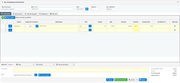 Fatturazione Web: anteprima gestione Magazzino - compilazione documento