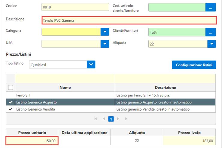 Fatture GB/Magazzino: Utilizzo ed abbinamento dei listini personalizzati - Selezione e scarico di un articolo