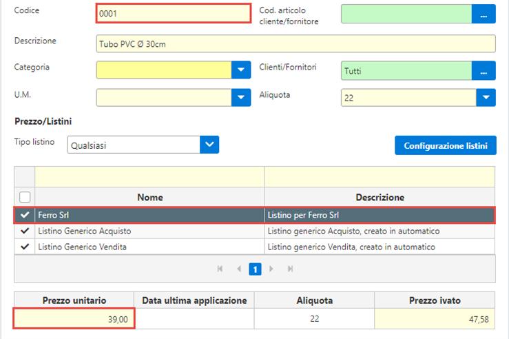 Fatture GB/Magazzino: Utilizzo ed abbinamento dei listini personalizzati - Prezzi importanti correttamente nel listino