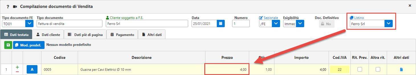 Fatture GB/Magazzino: Utilizzo ed abbinamento dei listini personalizzati - Prezzo proposto allo scarico dell'articolo