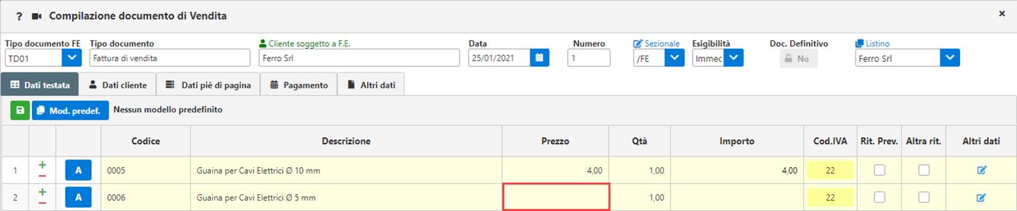 Fatture GB/Magazzino: Utilizzo ed abbinamento dei listini personalizzati - Campo prezzo vuoto