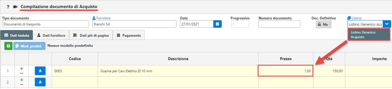 Fatture GB/Magazzino: Utilizzo ed abbinamento dei listini personalizzati - Compilazione documento di acquisto