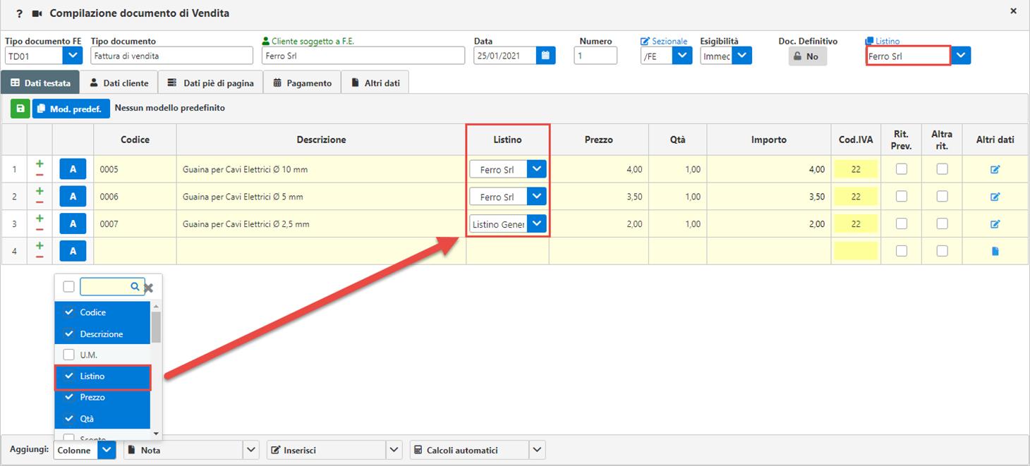 Fatture GB/Magazzino: Utilizzo ed abbinamento dei listini personalizzati - Utilizzo più listini contemporaneamente