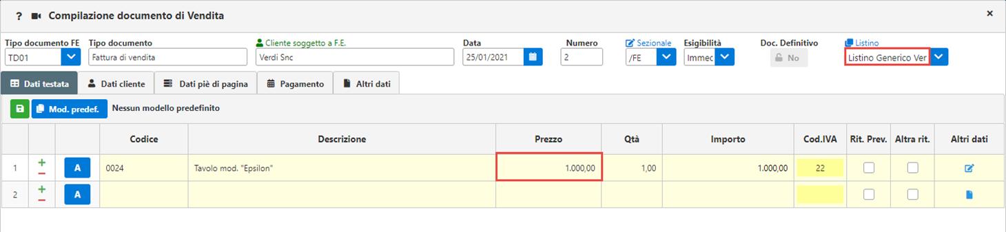 Fatture GB/Magazzino: Utilizzo ed abbinamento dei listini personalizzati - Prezzi del listino variati nel documento