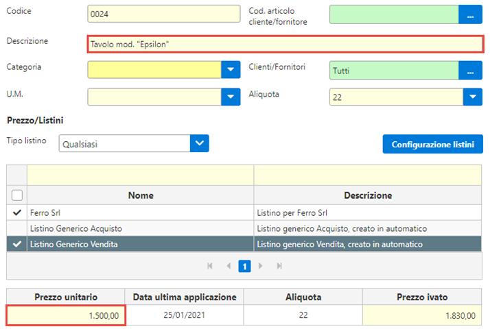 Fatture GB/Magazzino: Utilizzo ed abbinamento dei listini personalizzati - Listino aggiornato con risposta positiva