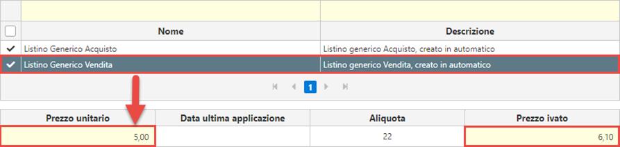 Fatture GB/Magazzino: Utilizzo ed abbinamento dei listini personalizzati - Listino generico vendita