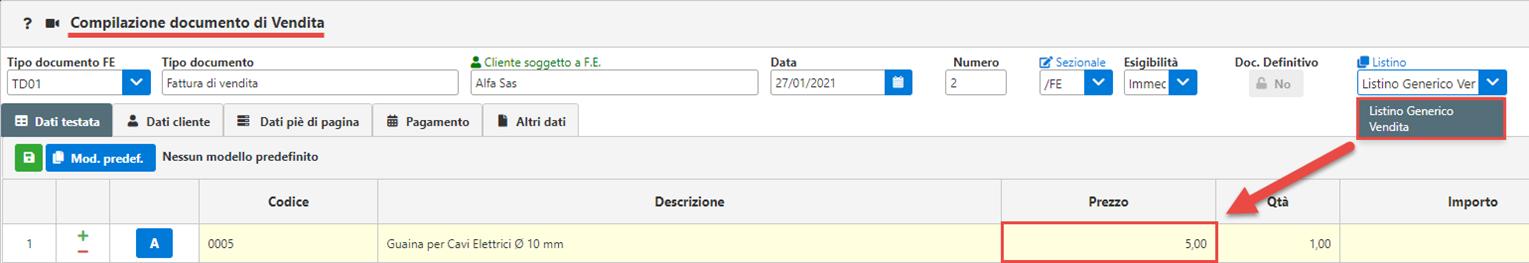 Fatture GB/Magazzino: Utilizzo ed abbinamento dei listini personalizzati - Prezzo compilazione documento di vendita
