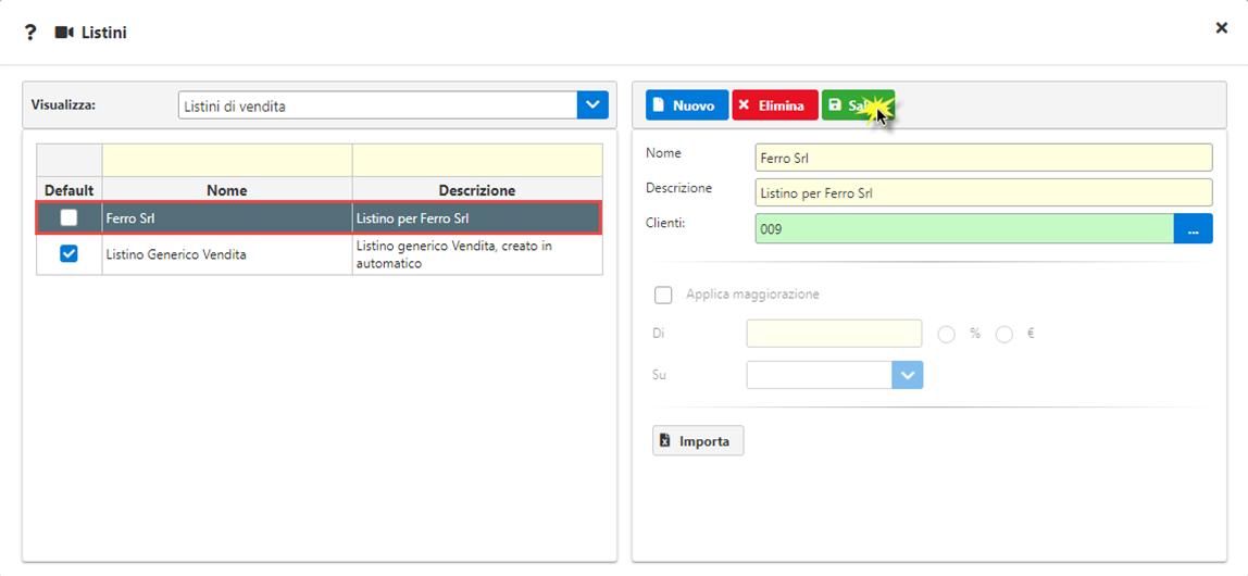Fatture GB/Magazzino: Utilizzo ed abbinamento dei listini personalizzati - Selezione clienti a cui applicare il listino