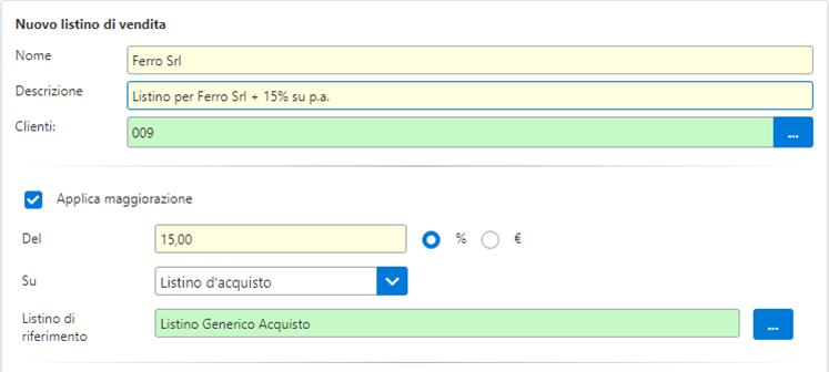 Fatture GB/Magazzino: Utilizzo ed abbinamento dei listini personalizzati - Esempio nuovo listino di vendita