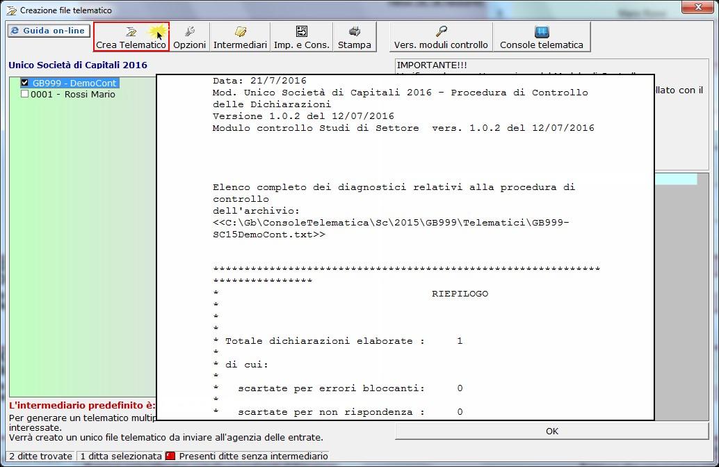 Controllo file con Console Telematica GB