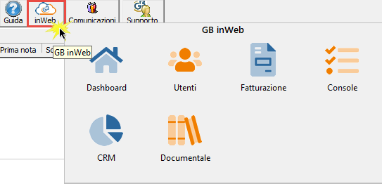 GB inWeb nel software per commercialisti INTEGRATO GB