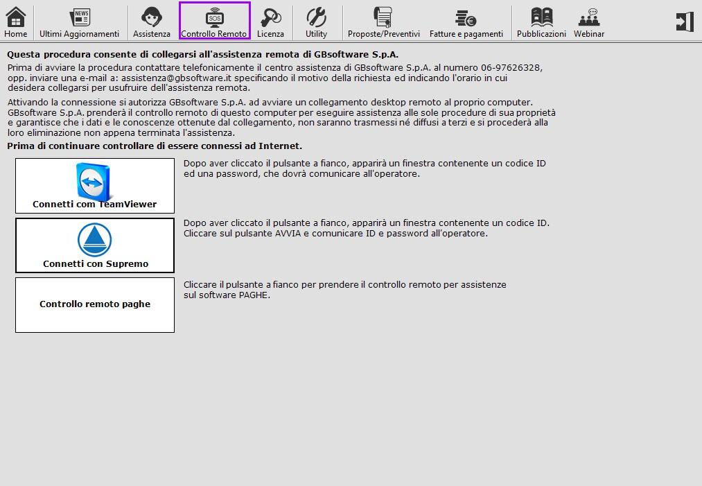 GB Supporto - Controllo remoto