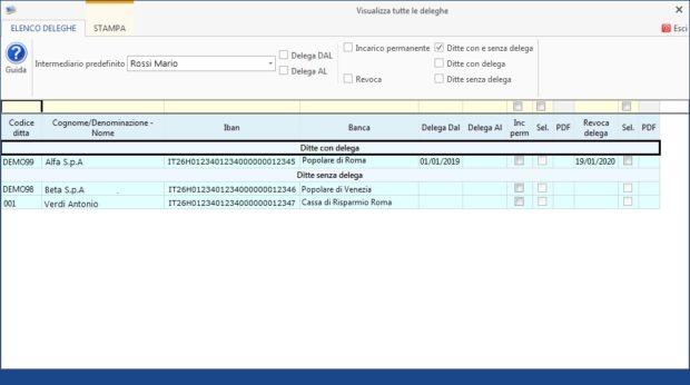 Gestione Banche e gestione Deleghe - Revoche all'utilizzo del conto corrente - visualizza tutte le deleghe