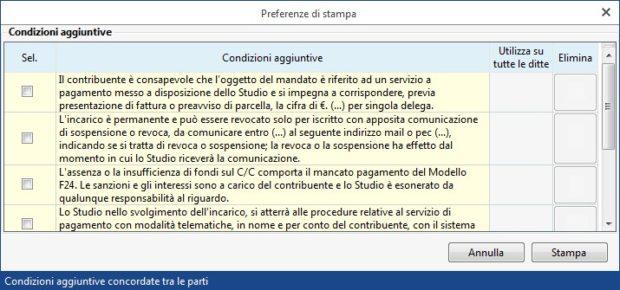 Gestione Banche e gestione Deleghe - Revoche all'utilizzo del conto corrente - preferenze di stampa