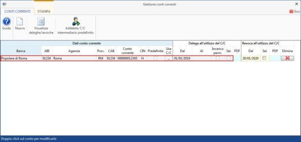 Gestione Banche e gestione Deleghe - Revoche all'utilizzo del conto corrente - gestione conti corrente