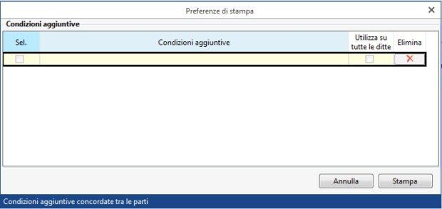 Gestione Banche e gestione Deleghe - Revoche all'utilizzo del conto corrente - condizioni aggiuntive preferenze di stampa