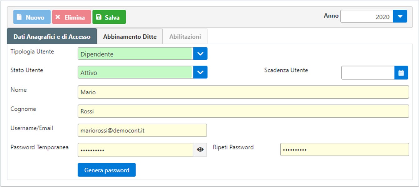Gestione Utenti Web – rilascio applicazione - Grafica dati anagrafici e accesso
