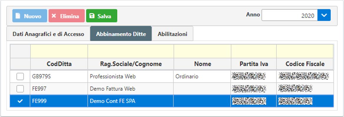 Gestione Utenti Web – rilascio applicazione - Grafica abbinamento ditte