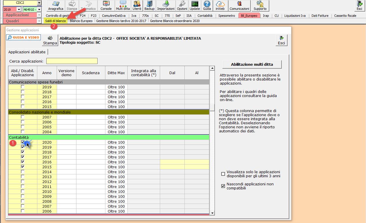 Import saldi da Excel: come conservare gli abbinamenti tra i due piani dei conti? - Abilitazione contabilità o bilancio da importare