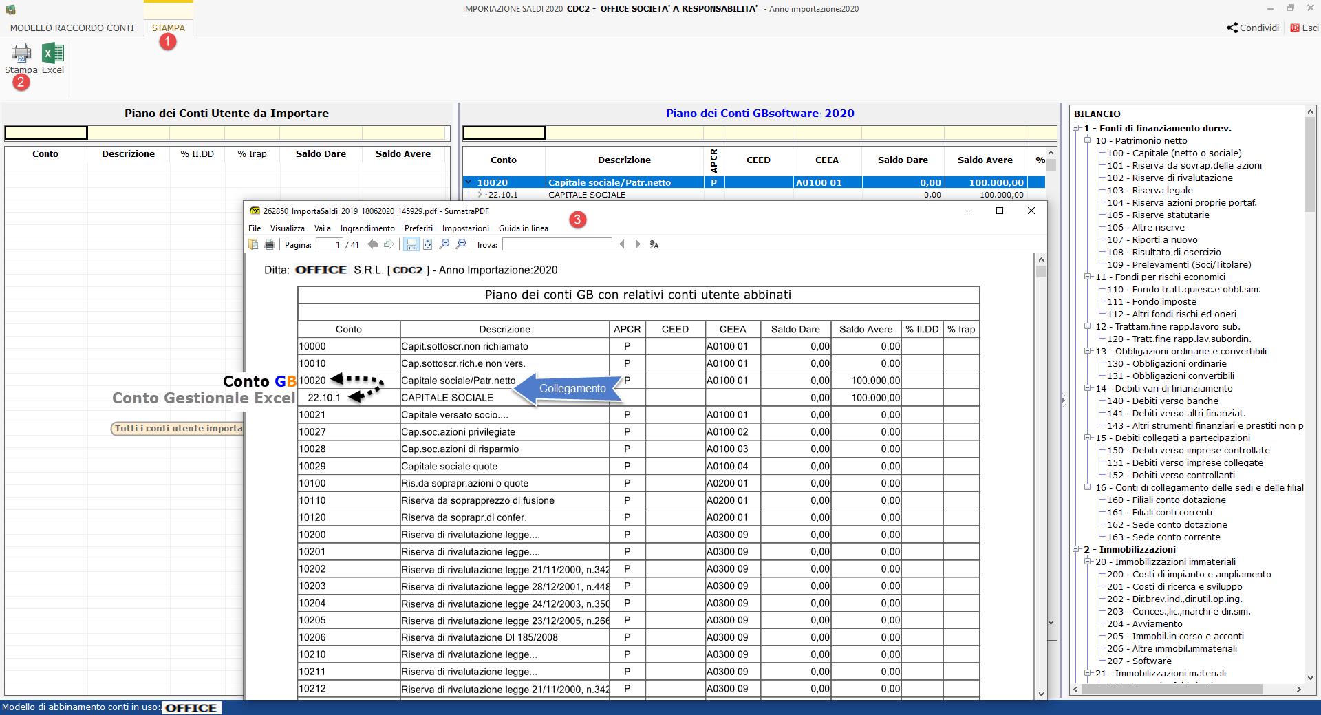 Import saldi da Excel: come conservare gli abbinamenti tra i due piani dei conti? - Opzioni di stampa degli abbinamenti