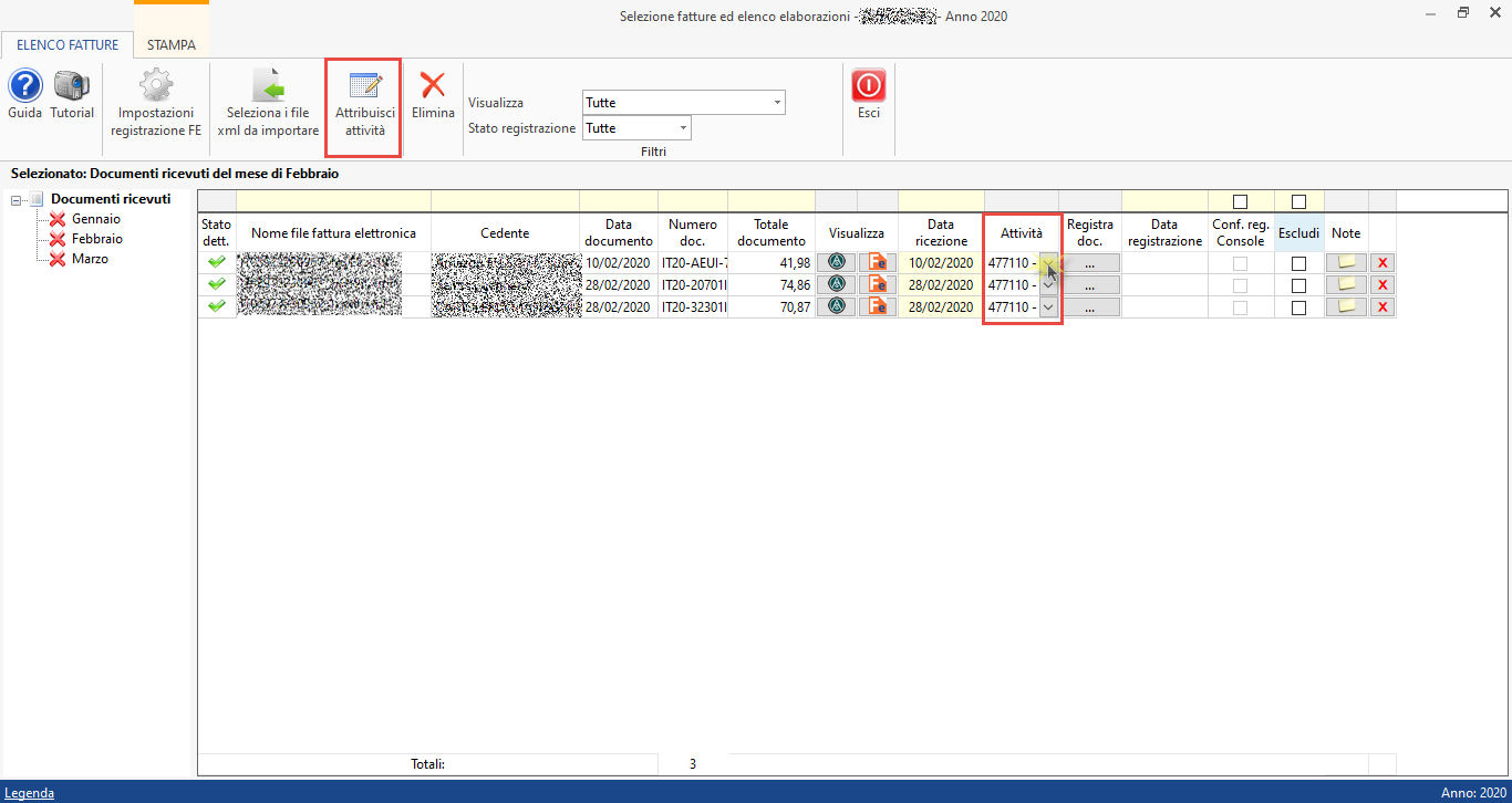 importazione-fatture-elettroniche-assegnazione-codice-attivita - Attribuzione codice attività