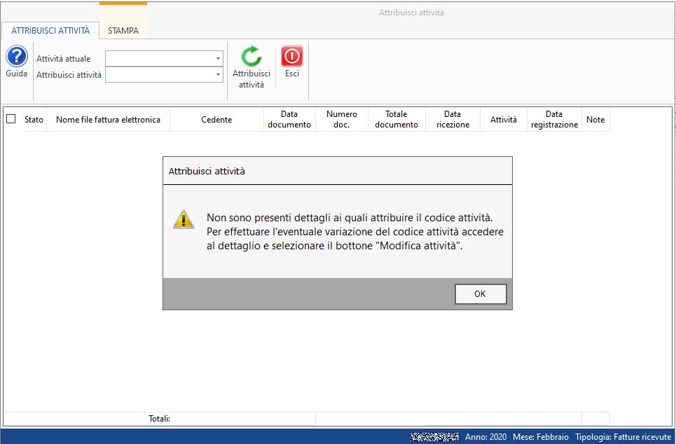 Importazione fatture elettroniche: assegnazione del codice attività - messaggio nessun dettaglio per l'attribuzione del codice