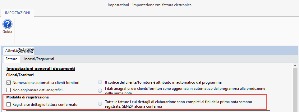 Importazione fatture elettroniche: conferma registrazione - Schermata modalità di registrazione