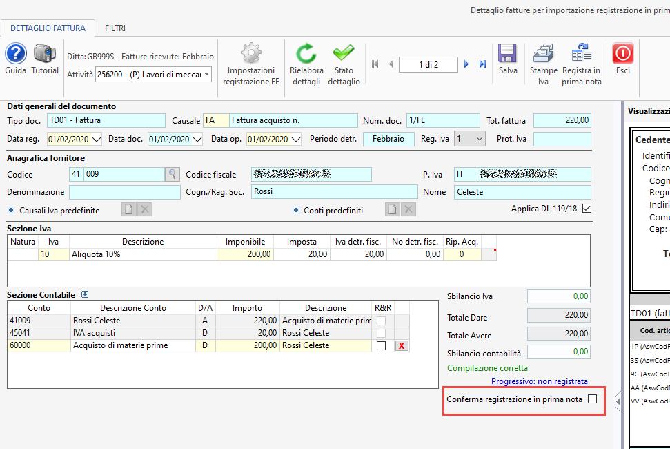 Importazione fatture elettroniche: conferma registrazione - Schermata scheda di dettaglio