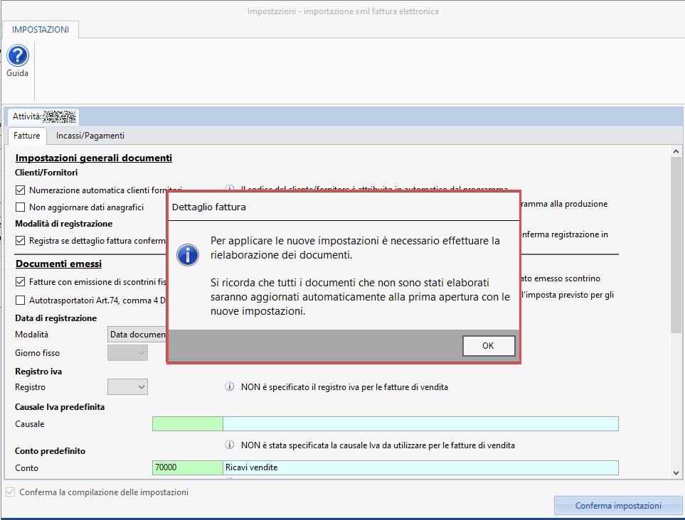 Importazione fatture elettroniche: conferma registrazione - Schermata modifica impostazioni