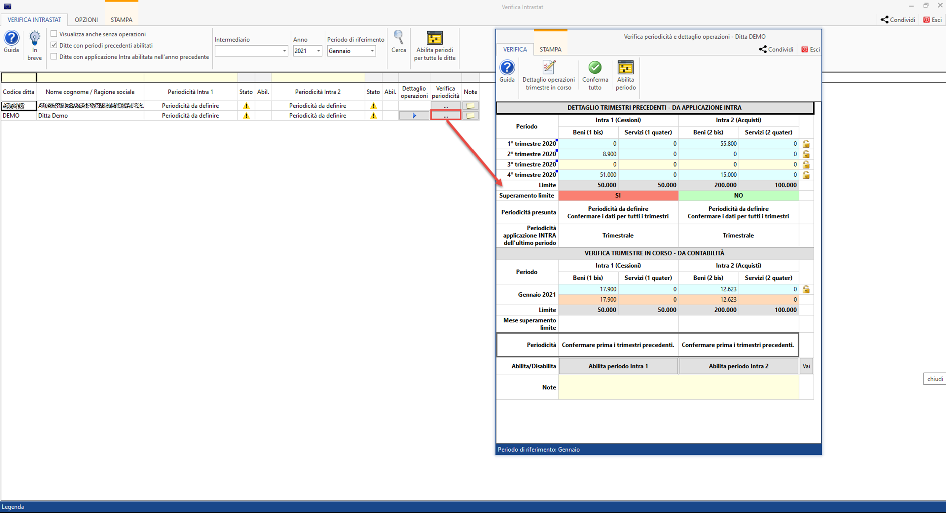 Intrastat: verifica periodicità ed abilitazione dei periodi - Verifica della periodicità