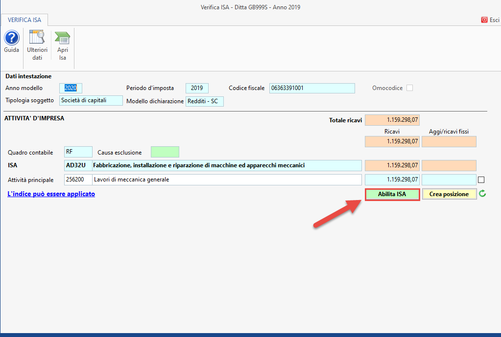 ISA - Indici sintetici di affidabilità fiscale 2020: disponibile applicazione - Abilitazione ISA