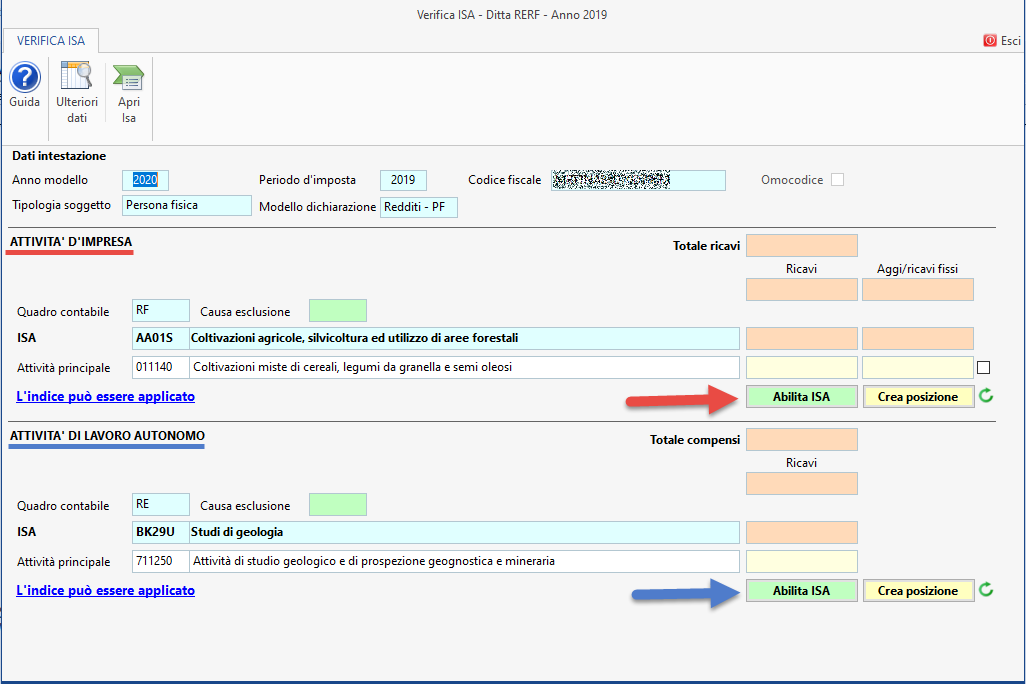 ISA - Indici sintetici di affidabilità fiscale 2020: disponibile applicazione - Maschera verifica ISA