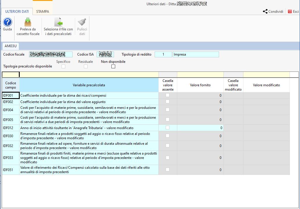 ISA - Indici sintetici di affidabilità fiscale 2020: disponibile applicazione - Ulteriori dati ditta