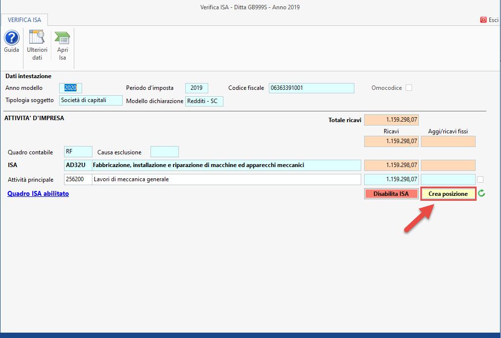 ISA - Indici sintetici di affidabilità fiscale 2020: disponibile applicazione - Crea posizione tramite maschera verifica ISA