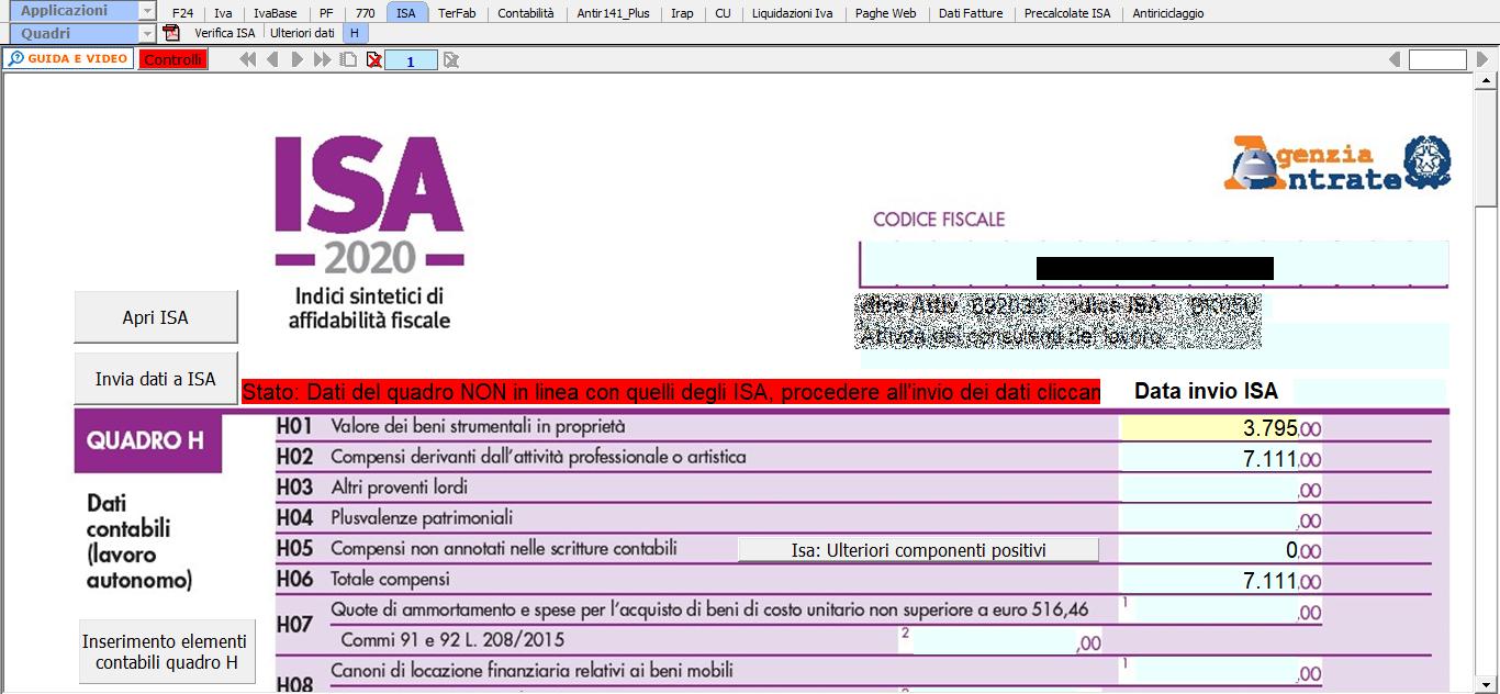 isa-indici-sintetici-affidabilita-fiscale-2020-disponibile-applicazione - Quadro H modello ISA 2020