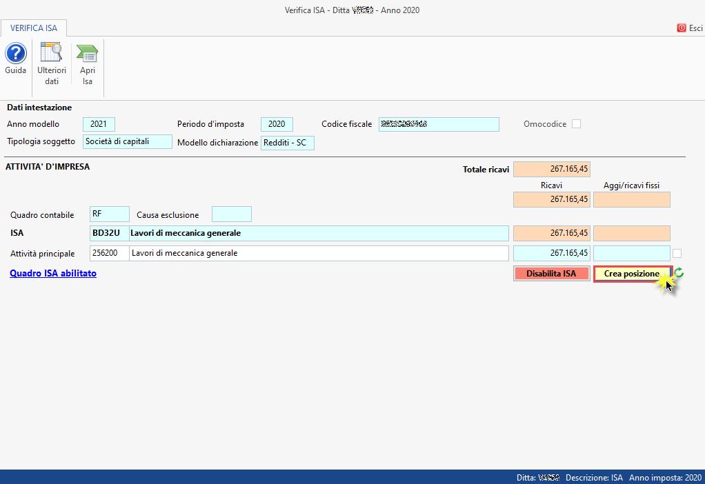 ISA Indici sintetici di affidabilità fiscale 2021: disponibile applicazione: creare posizione