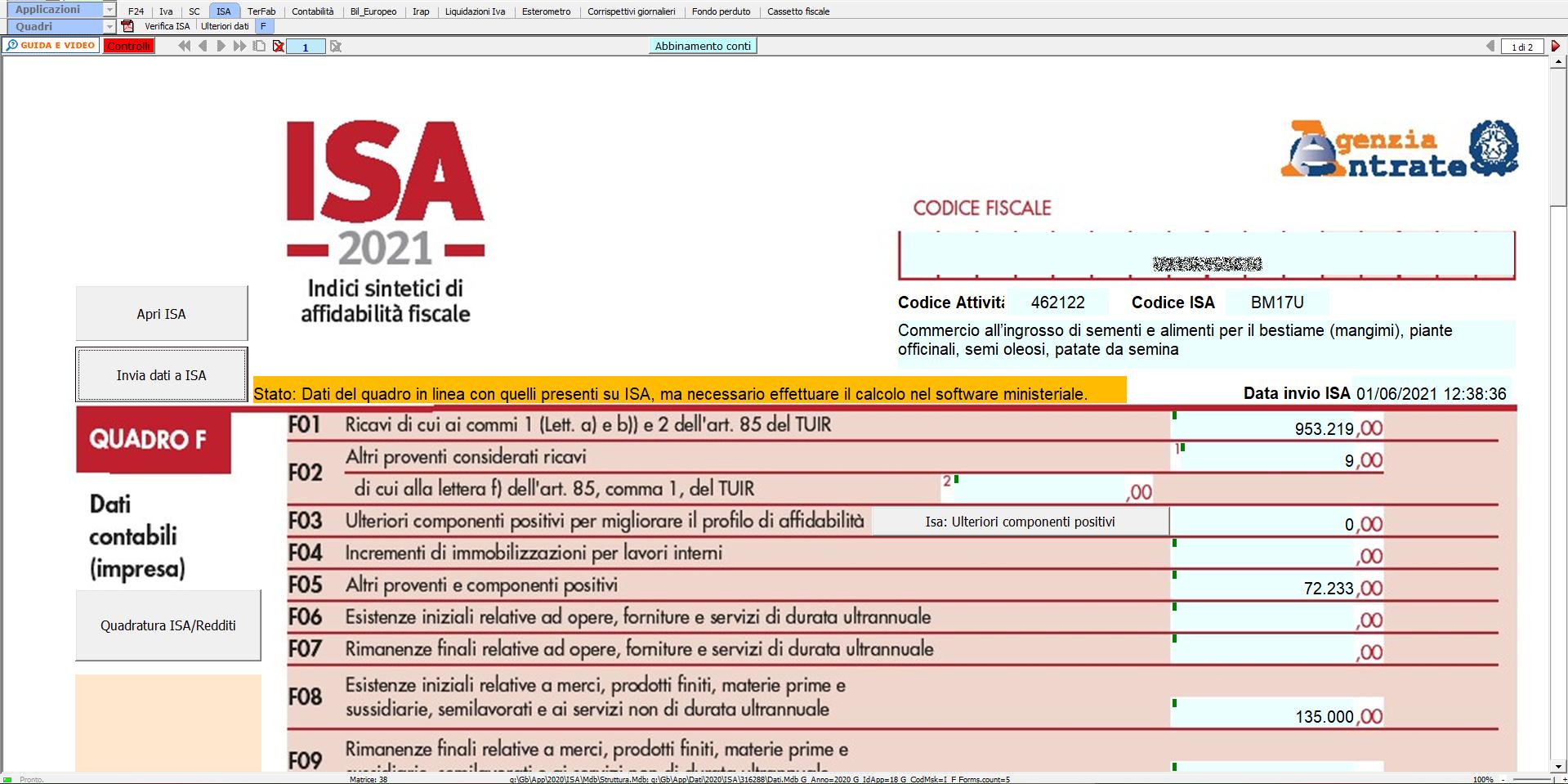 ISA Indici sintetici di affidabilità fiscale 2021: disponibile applicazione: quadro F