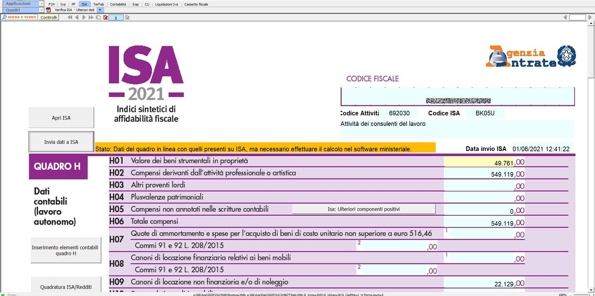 ISA Indici sintetici di affidabilità fiscale 2021: disponibile applicazione: quadro H