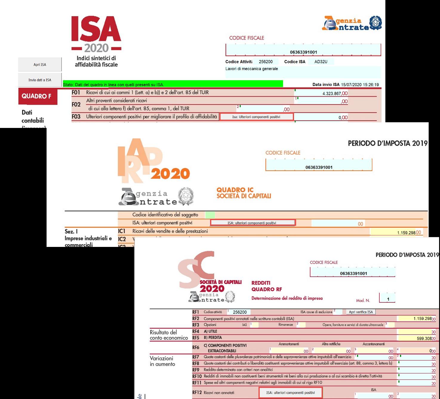 ISA: media dei punteggi 2019 e 2018 - Maschera ulteriore componenti positivi