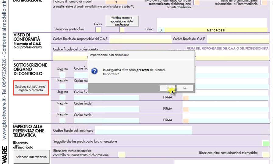 IVA e IVA BASE 2021: Sottoscrizione organo di controllo - Riporto dati nel frontespizio