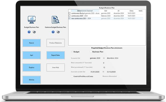 Scenari del Budget - Business Plan nel software Controllo di Gestione GB