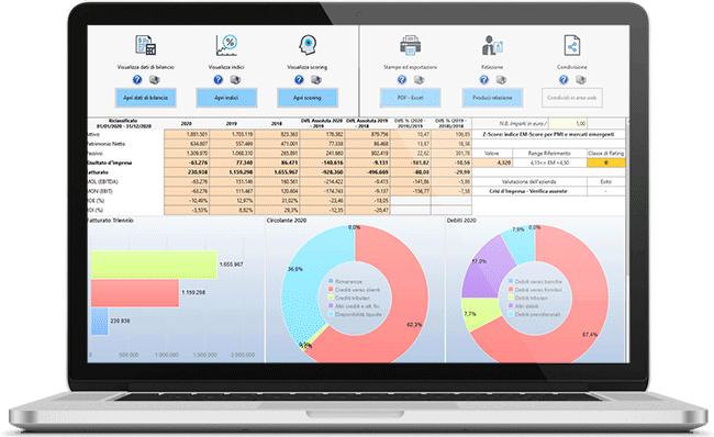 Riepilogo dati dell'Analisi di Bilancio nel software Controllo di Gestione GB