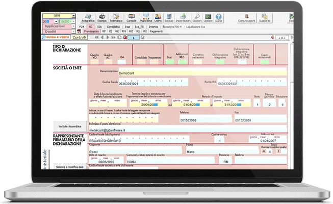 Redditi SC nel software Dichiarazioni Fiscali
