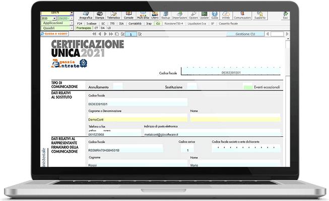 Certificazione Unica nel software Dichiarazioni Fiscali